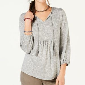 Style & Co Heather Gray Knit Peasant Top XL